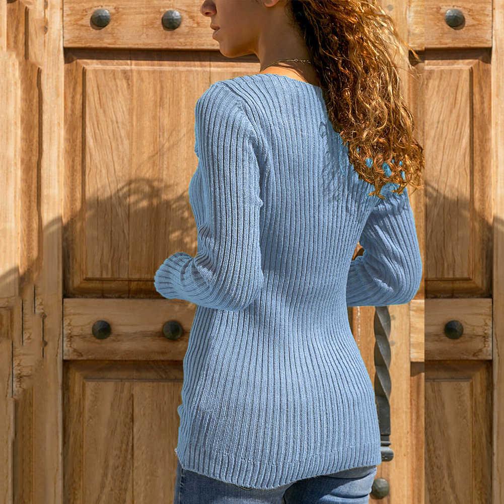 Outono inverno camisola feminina moda plus size cor sólida lapela malha suéteres jérsei mujer camisola feminina pulôver pull femme
