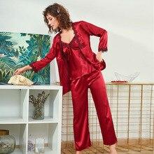 Big Size Pyjamas Set Women Silk Satin Pajamas Long Sleeve Sleepwear Pijama Pajamas Suit Sle