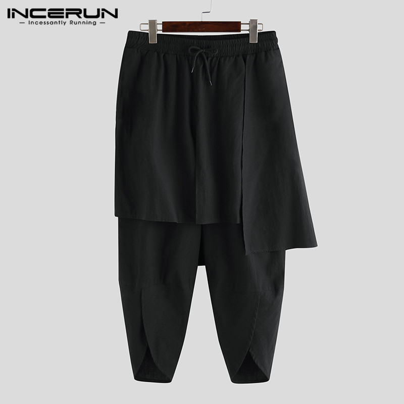 INCERUN 2020 Men Casual Loose Punk Pantalones Hombre Streetwear Men Harem Pants Solid Joggers Elastic Waist Irregular Trousers