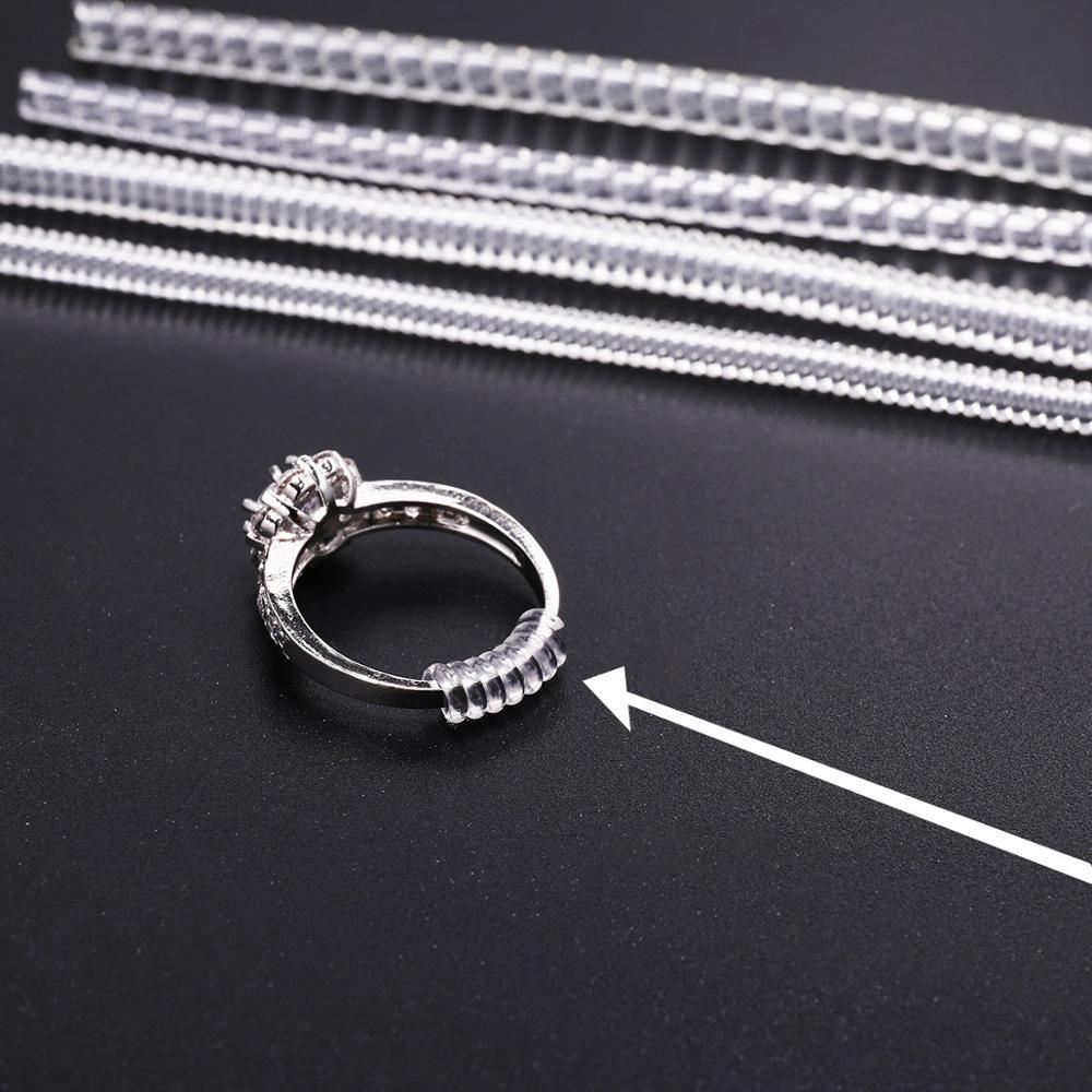 4 pçs/lote espiral transparente com base anel ferramentas primavera bobina anel tamanho ajustador guarda tightener redutor ferramenta de redimensionamento para jóias