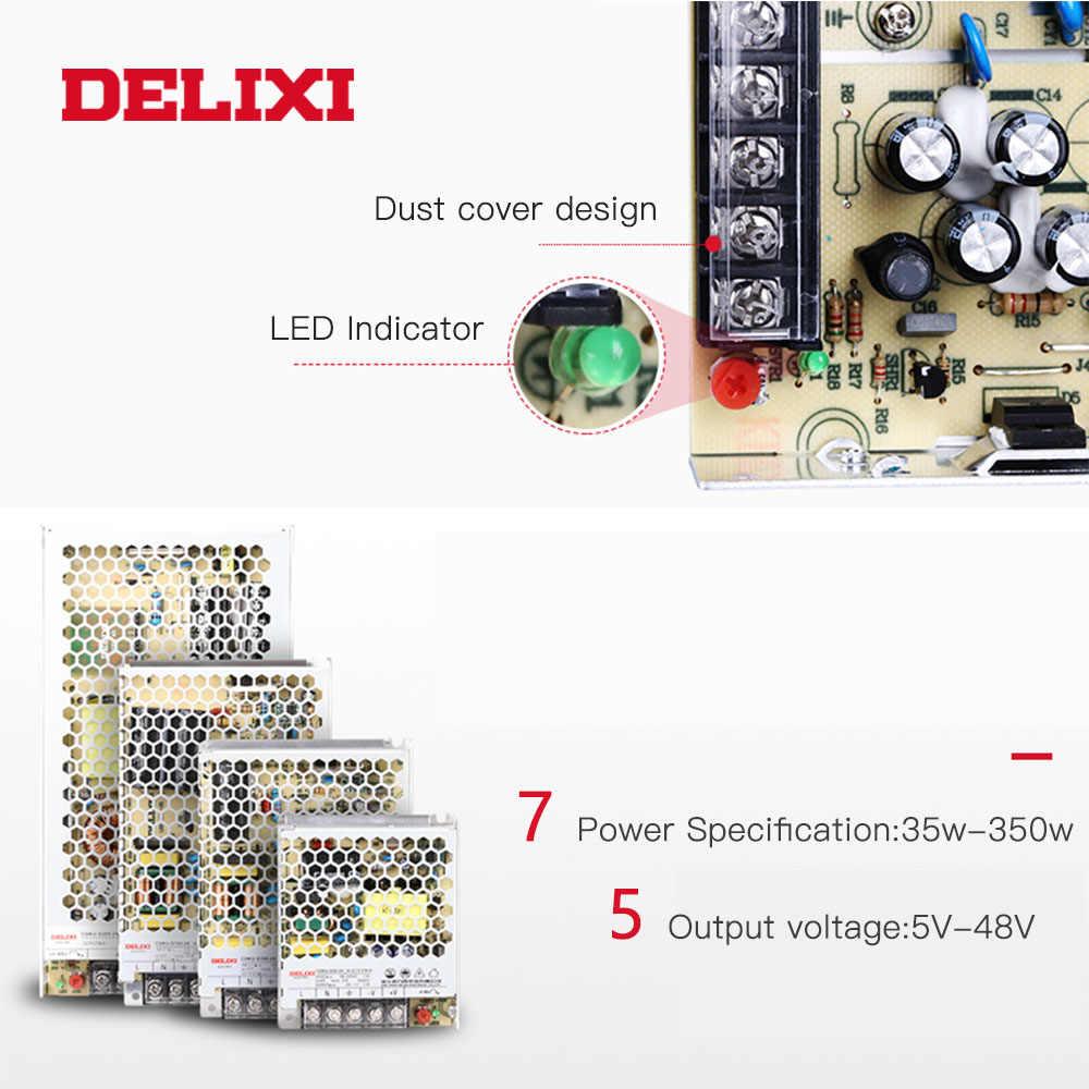 DELIXI ultra-mince transformateur alimentation à découpage DC 5V 12V 18V 24V 48V 35-350w transformateur d'éclairage pour Led bande lumineuse
