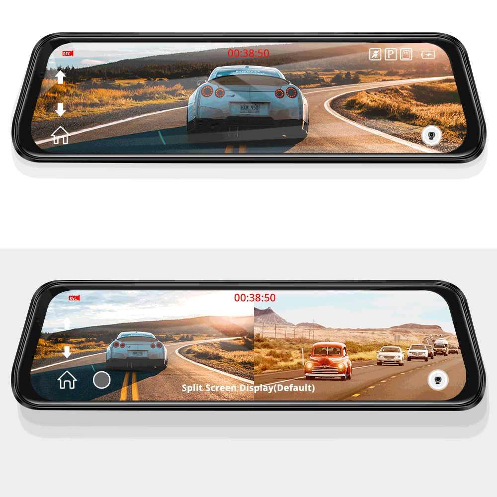 """AZDOME PG12 voiture Dvr rétroviseur tableau de bord caméra 10 """"plein écran tactile Streaming médias Vision nocturne tableau de bord caméra 1080P double lentille"""