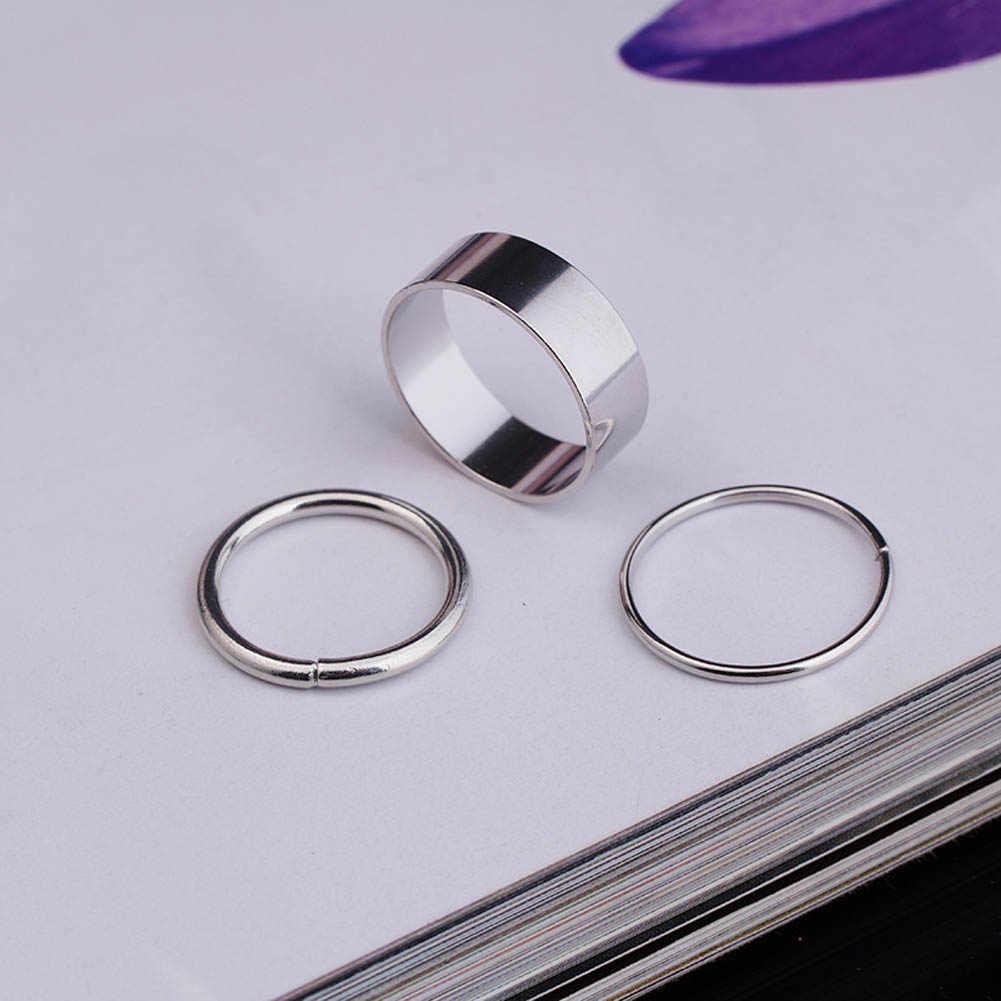 1 Set / 9 stücke Einfache Klassische Glatte Breite Dünne Ring Set Gold Silber Ton Fashion Ring Schmuck