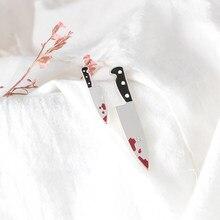 Punk girl harajuku killer orecchini a spada larga piccolo maschio coltello sanguinante orecchini asimmetrici accessori gioielli