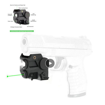 ohhunt Compact Green Laser Sight with CREE LED Flashlight Integrated Combo for Tactical Pistol Rifle Weaver Picatinny Rail