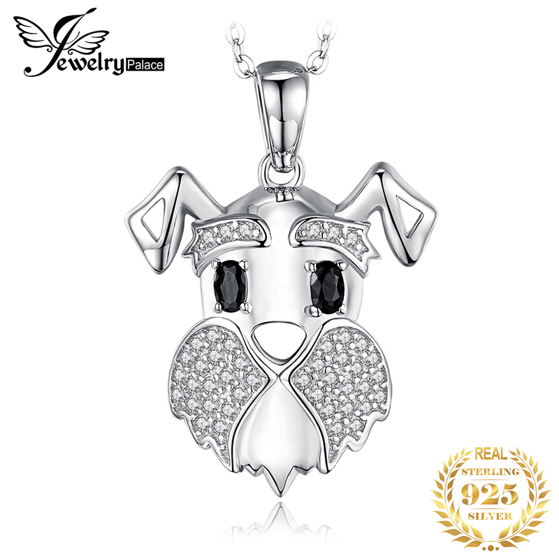Schnauzer Dog Natural Black Spinel Pendant Necklace 925 Sterling Silver Gemstones Choker Statement Necklace Women Without Chain