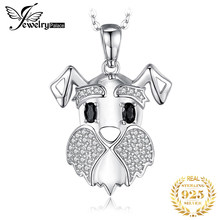 Schnauzer Dog Natural Black Spinel Pendant Necklace 925 Sterling Silver Gemstones Choker Statement Necklace Women Without Chain(China)