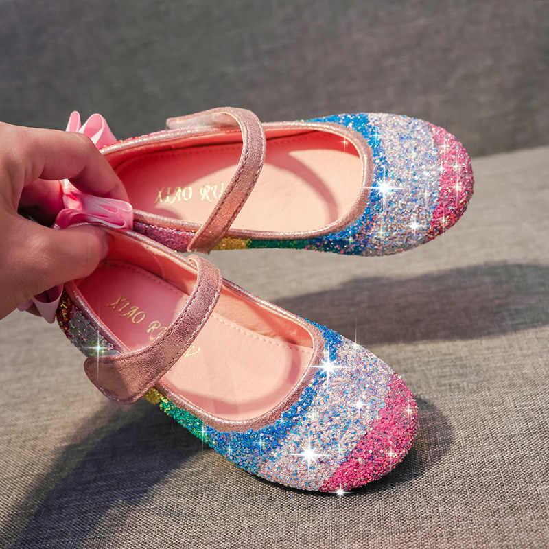Meisjes lederen strass schoenen Prinses nieuwe ronde kop zachte bodem enkele schoenen grote kinderen crystal pea schoenen met regenboog kleur