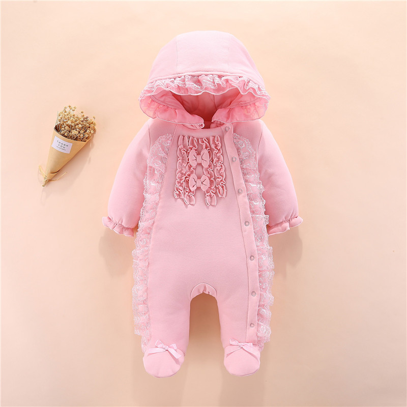 New Born Baby Girls Footies Infant Winter Warm Newborn Overalls 3 6 9 12 M Baby Girl Clothes Winter Thick Snow Jumpsuit Outfits