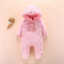 New Born Baby Girls Footies Infant Winter Warm Newborn Overalls 3 6 9 12 M Baby Girl Clothes Winter Thick Snow Jumpsuit Outfits(China)