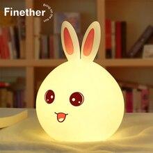 Nieuwe Leuke Konijn Led Nachtlampje Voor Kinderen Baby Kids Bedlampje Multicolor Siliconen Touch Sensor Tap Controle Nachtlampje Gift