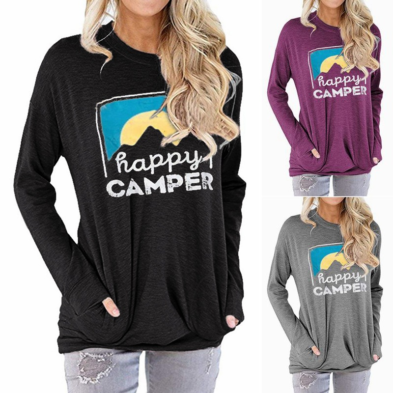 New 2019 Cotton Autumn Women's Hoodie Sweatshirt HAPPY CAMPER Letter Printed Loose Round Neck Long-sleeved T-shirt Female