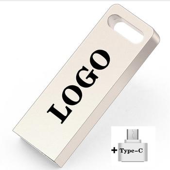 2 IN 1 Metal Silver USB Flash Drive Pen 4G 8G 16G 32G 64G 128G 256G Pendrive Waterproof Usb Type-C Memoria Card Stick