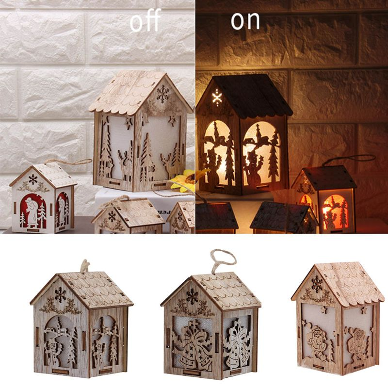 Christmas Tree Hanging LED Light Log Cabin Wood House Decoration Showcase
