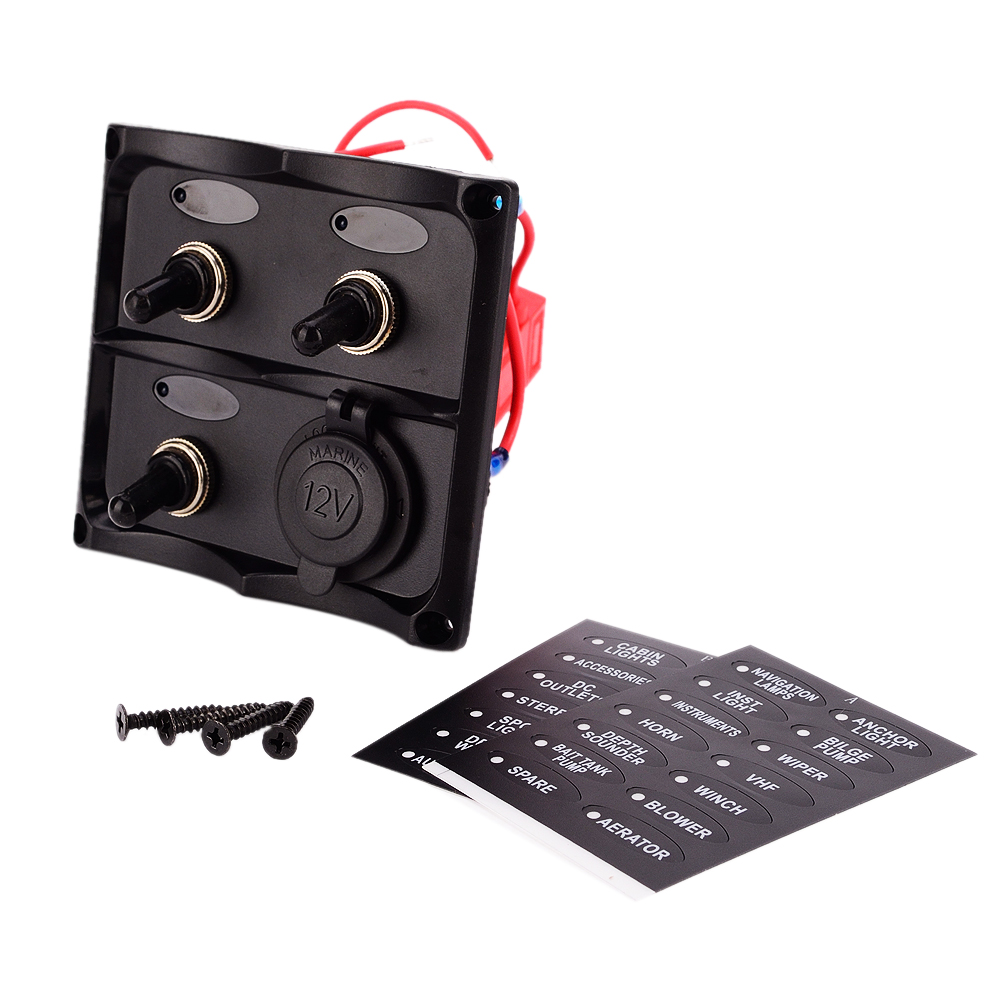 Waterproof Marine Electric 3 Gang Toggle Switch Panel With Power Socket