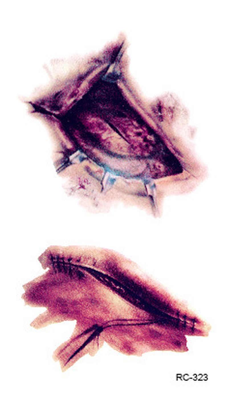 Gorąca sprzedaż Halloween Zombie blizny tatuaże z fałszywy strup krwawe makijaż Halloween dekoracji rany straszny krwi szkody naklejki