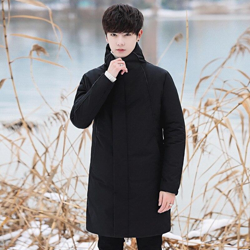2018 мужской пуховик средней длины в Корейском стиле, толстое молодежное повседневное Мужское пальто со стоячим воротником, Черное и белое пуховое пальто с рисунком - 3