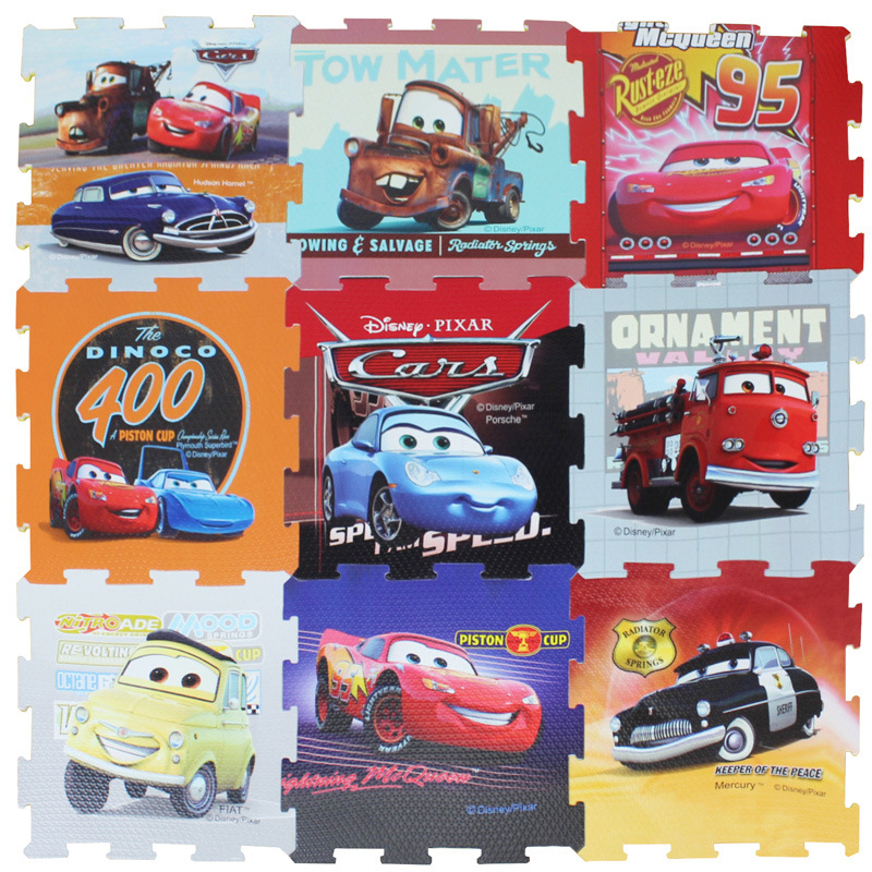 Cars 9pcs/pack  Foam Mat Mickey Minnie 30x30cm Per Piece Frozen Baby Child Play Floor Mat  Game Carpet Crawling Mat