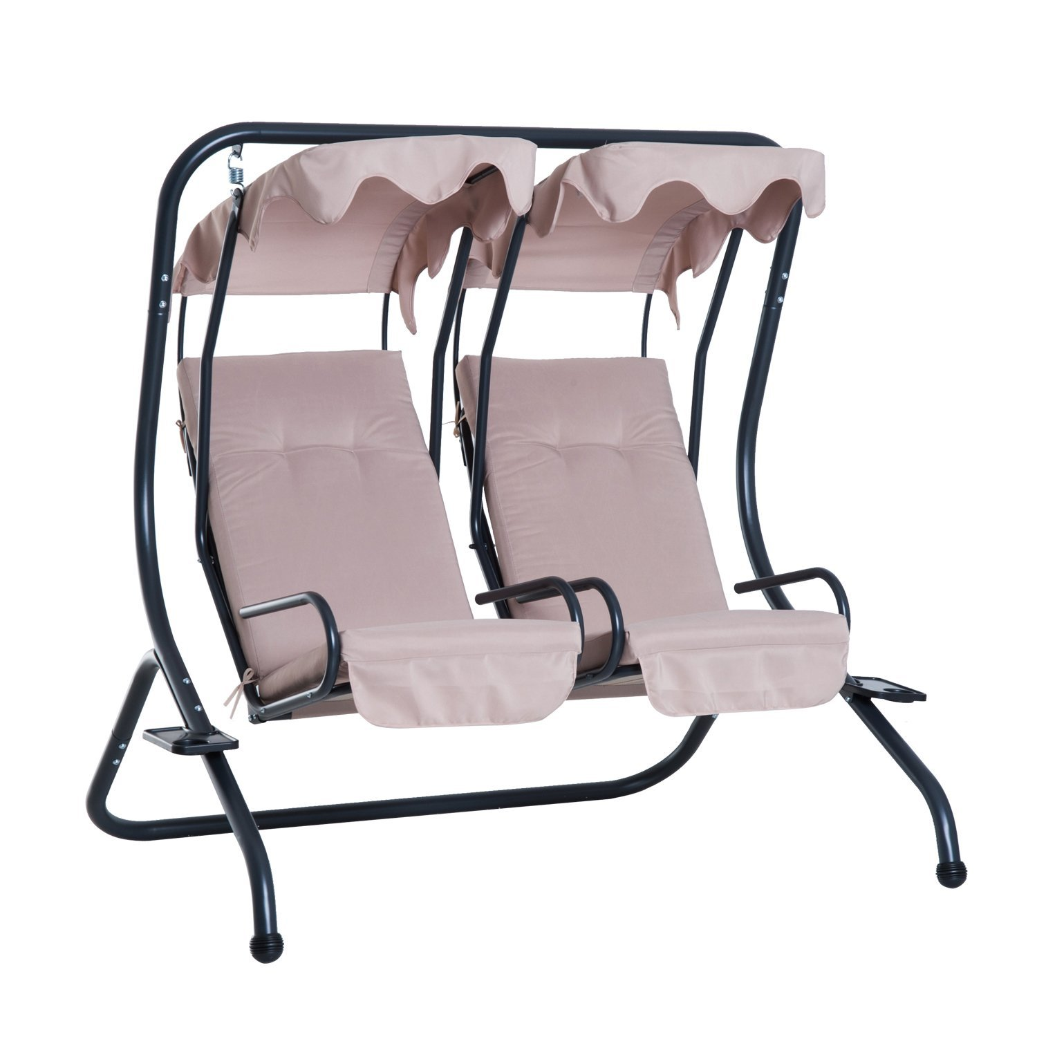 Outsunny Swing 2 Seater With Sunshield Sunshade Holder Tray Drinks Steel Garden 170 × 136 × 170 Cm