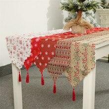 Рождественское украшение, льняная печатная настольная дорожка с флагом, печатная кисточка для скатерти, столовые приборы, гостиничное украшение для дома и фестиваля