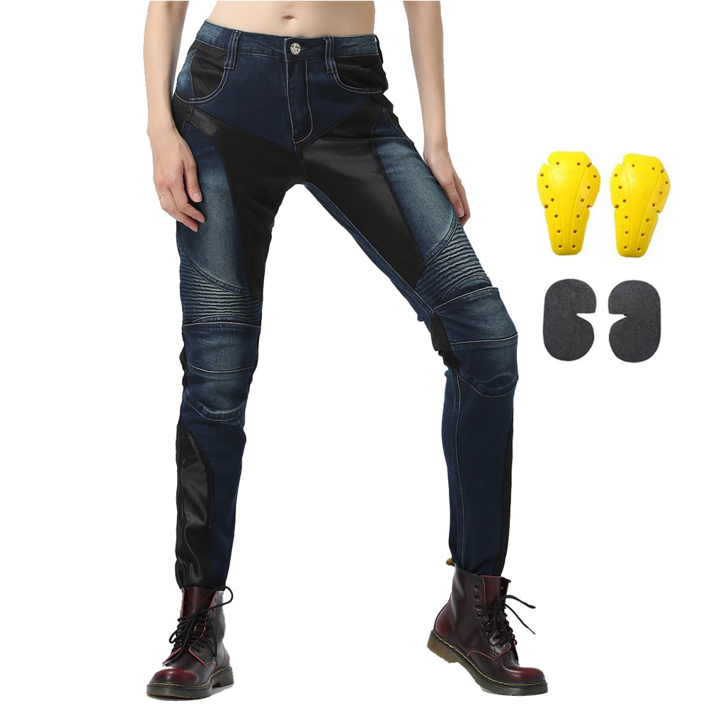 Women's Motorcycle Riding Jeans With CE Armored Pads Mesh Motorbike Air Pants Heavy Duty Stretchable Trousers Racing Protective