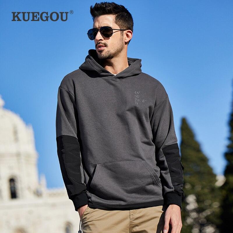 KUEGOU Brand Men's hoodies 2020 autumn winter Men's sweatshirt Simple cloth joining together fashion LW-1762