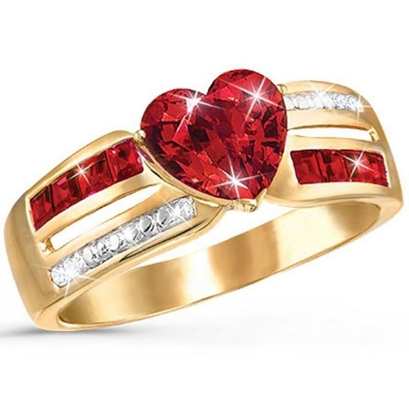 Bague rouge en or Rose en forme de coeur pour femmes bagues couleur or bague de fiançailles en Zircon fleur