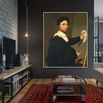 Citon Ingres《Self-Portrait》Canvas Art Oil Painting Artwork Poster Picture Background Wall Decor Home Living Room Decoration image