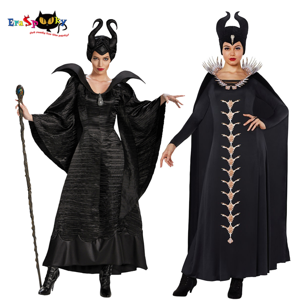 Eraspooky Movie Maleficent 2 Cosplay Halloween Costume For Women Adult Maleficent Horn Black Queen Gown Cloak Purim Party Outfit