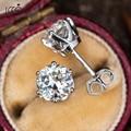IOGOU 0,5-1 карат D Цвет серьги с муассанитом для женщин 925 стерлингового серебра Имитация синтетический алмаз серьги-гвоздики ювелирное изделие