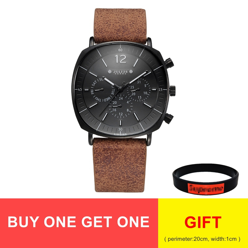 Men's Swiss Quartz Movement Calendar Luminous Hands Waterproof Business Sport Watches Homme Fashion Leather Band Stainless Clock