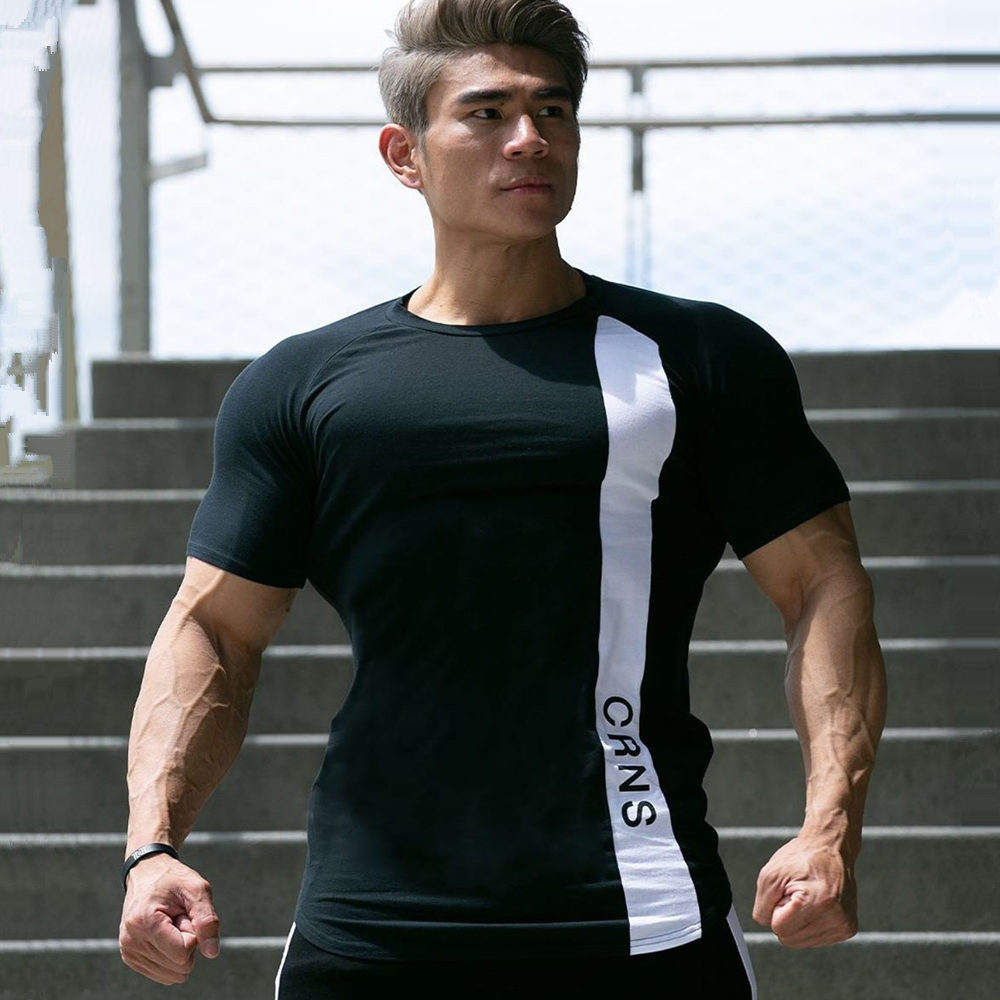 Gym Skinny T-shirt Men Cotton Short Sleeve T Shirt New Summer Fitness Bodybuilding  Male Casual O-Neck Tee Shirt Tops Clothing