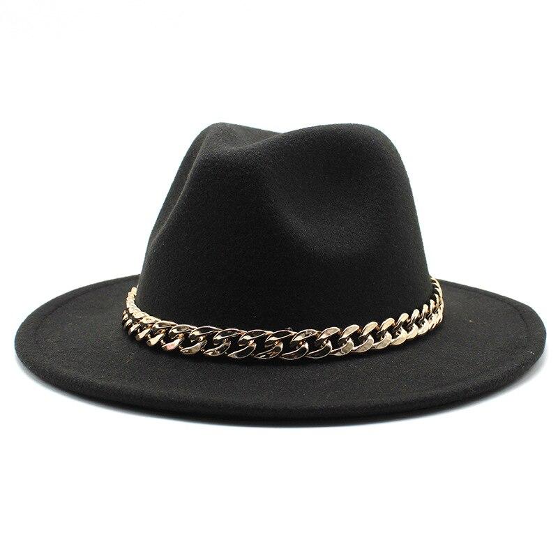 European American Big Chain Fedoras Fuax Woolen Brim Felt Cap Jazz Men Women Hat