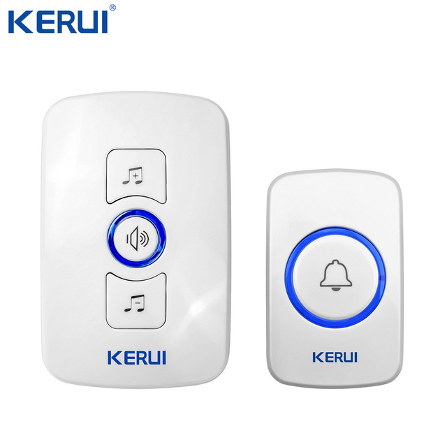 Kerui Wireless Doorbell System 32 Songs Optional Doorbell Transmitter Chime Welcome Security Alarm System Build in Antenna