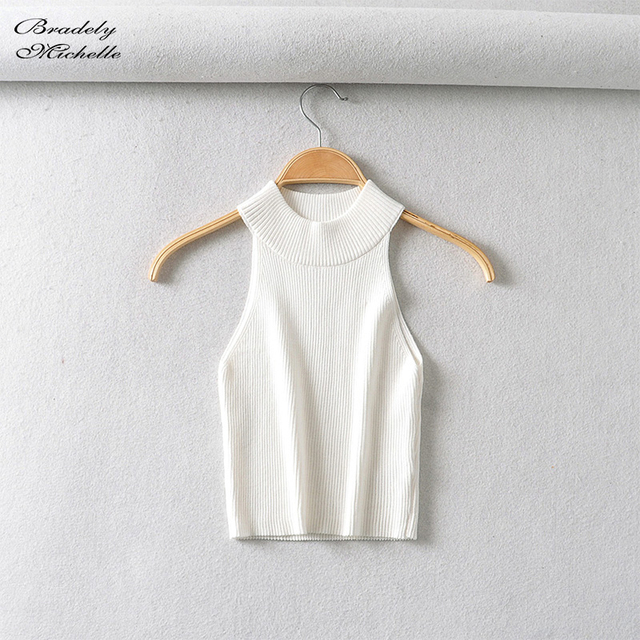 Summer Streetwear Crop tops women 2020 Fashion Kintted Solid Soft Fitness Tank Tops 2