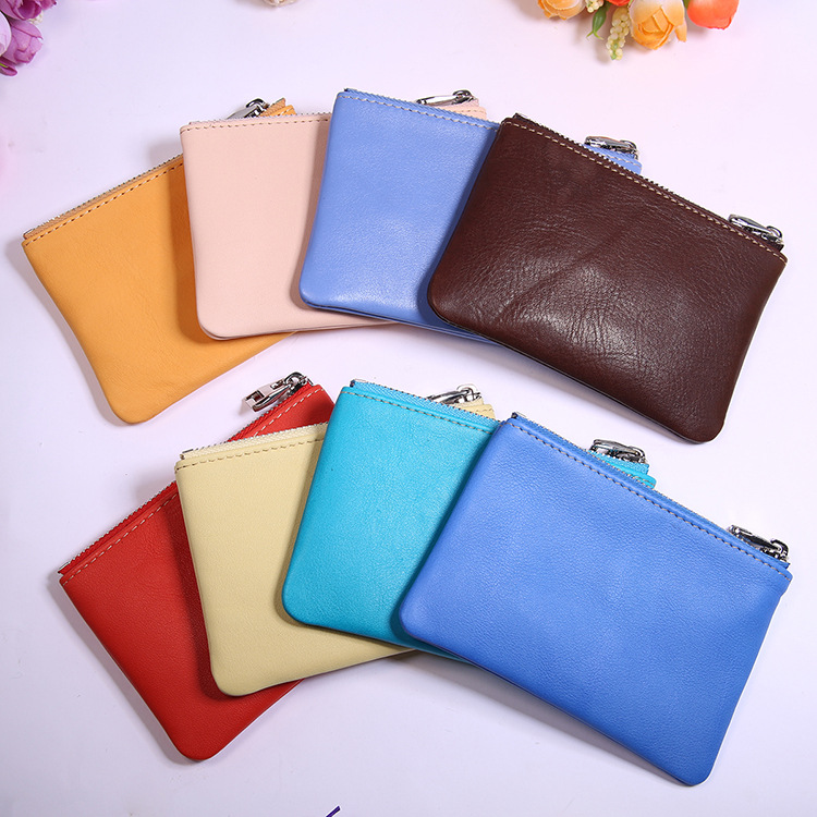 Genuine Leather Women's Mini Purse Import Full-grain Leather Zipper Small Coin Bag Gift Wallet