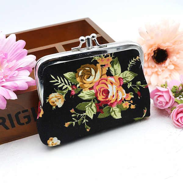 Frauen Geldbörse Nette Blume Drucken Damen Mini Tasche Münze Tasche Zwei Metall Taste Tasche Münzfach Schlüssel Kreditkarte halter