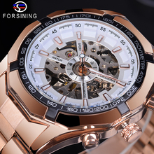 Forsining Sport Design Luminous Hands White Skeleton Watch Rose Golden Stainless Steel Band Waterproof Mens Automatic Watch white ceramics band design mens leisure watch
