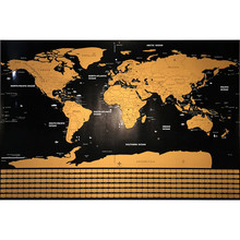 Deluxe Scratch World Travel Map Erasable House Room Office Decoration Wall Stickers Waterproof Colorful Decorative Map 82*59cm