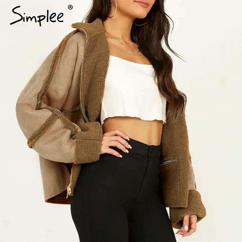 Simplee Two-way Lambs Wool Suede Coat Women Casual Zippers Patchwork Autumn Winter Warm Coats Fashion Loose Split Ladies Jackets