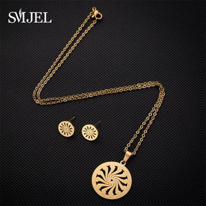 Image 3 - SMJEL Islam Muslim Allah Religious Pendant Necklaces for Men Women Swirl Coin Gold Sun Flower Earings Woman Kid Jewelry Set Gift