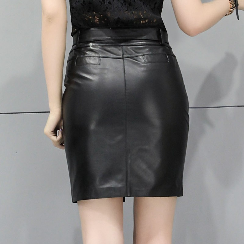 Office Ladies High Quality Sheepskin Real Leather Wrap Skirts Women New High Waist Belted Slim Fit Pencil Skirt Plus Size Faldas