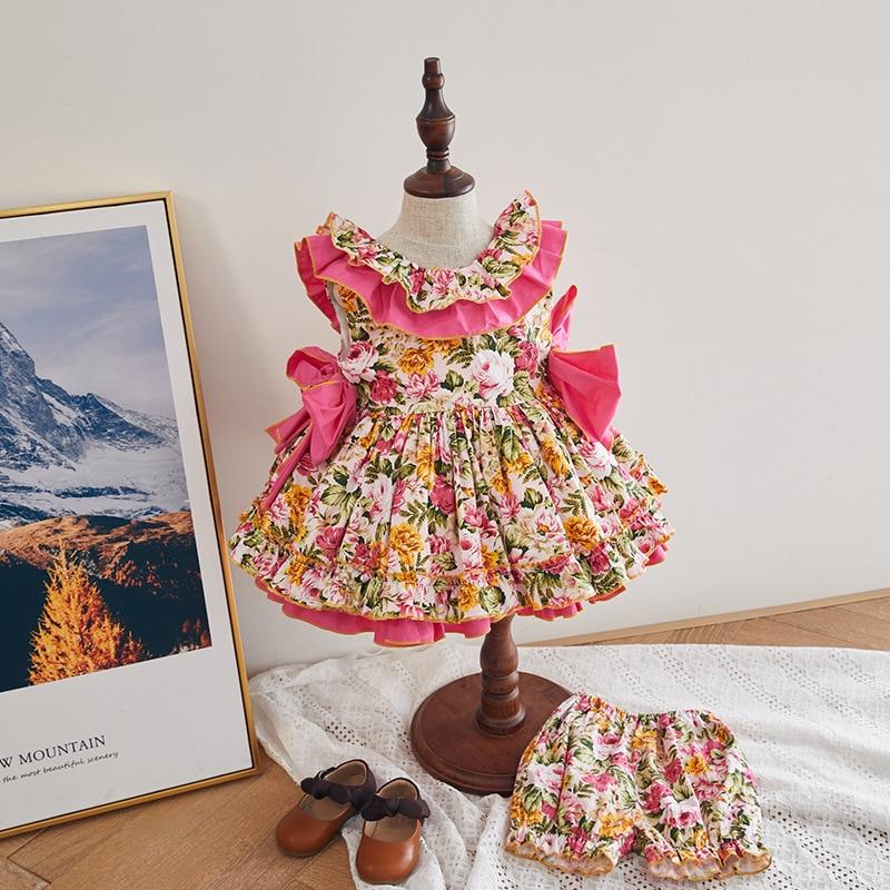 Children's Clothing 2020Summer New Spanish Girls Children'day Sleeveless Dress Baby Girl Cute Dress Sweet Flower Vest Dress