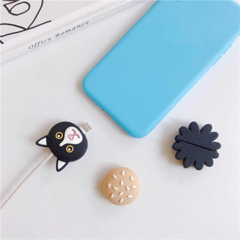 Lucu Bunga Pengisian Kabel Pelindung Cover untuk Ponsel Kabel Usb Data Line Fracture Pencegahan Kartun Anjing Portable Case