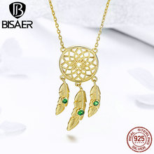 BISAER 925 Sterling Silver Feather Bohemia Dreamcatcher Pendant Necklace for Women Gold Color Fashion Jewelry Bijoux GAN044 classic retro dreamcatcher resizable 925 sterling sivler feather jewelry pendant necklace for women girls fashion accessories
