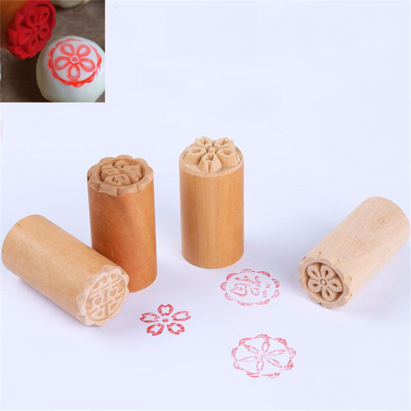 1PC Cake Mold Wood Dessert Seal Stamp Traditional Chinese Moon DIY Cookie AT