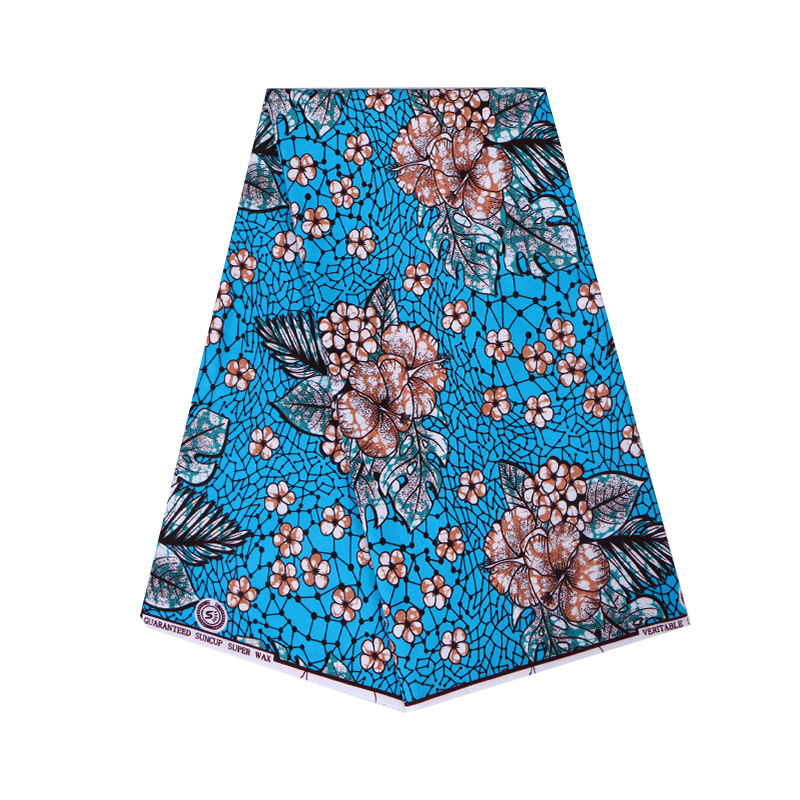 New Dutch Wax Fabric 2019 Fashion Design African Ankara Guaranteed Wax Flowers Printed Sky-Blue Fabric
