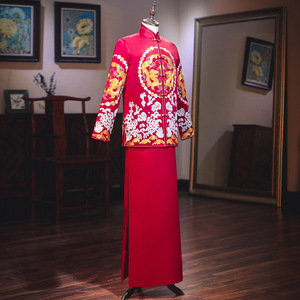 Image 2 - Terno Noivo Colete Gravata настоящий костюм Xiuhe для мужчин 2020 новая одежда для жениха китайские женатые мужчины предлагают великолепное платье костюм ветер