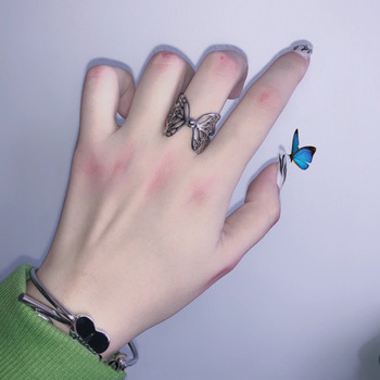 Harajuku Gothic Vintage Aesthetic Hollow Silver Colour Butterfly Rings for Women Men Egirl Dating Punk Jewellery Sale Wholesale 1