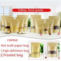 1000pcs Zipper Kraft Bag Kraft Paper Bag For Gifts/Food/Candy/Party/Wedding Gifts Ziplock Bag With Window Stand Up Packing Bags